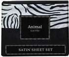 ANIMAL PRINT SATIN SHEET SETS, CHOOSE FROM ZEBRA OR LEOPARD