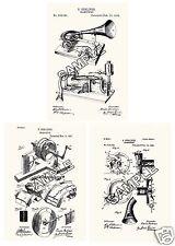 Berliner Gramophone Phonograph 3 patent Print Reproductions  for Framing