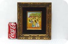 Pretty Oil by L. KOHN On Board Landscape Painting People~Gold Black Wood Frame