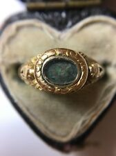 Antique Late Georgian 18ct Yellow Gold Memorial Locket Front Ring Band Signet