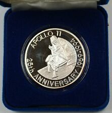 1993 Turks and Caicos Islands Silver Proof 20 Crowns Coin Apollo XI 25 Anniver.
