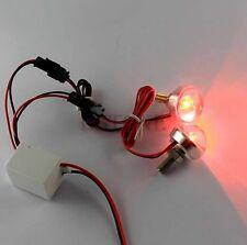 2x Motorcycle License Plate Frame Bolt Red LED lens Light Strobe Flashing 12V