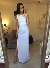 ASOS Premium Scuba Maxi Thigh Leg Split Side Bodycon White Floor Length Dress 8