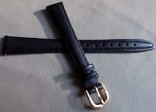 Ladies Timex Black Padded Genuine Leather Calf 13mm LONG Watch Band Strap $9.95