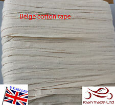 6mm Beige/naturel brut tissage Bruant coton fixation Bande de sangle x 25 mt