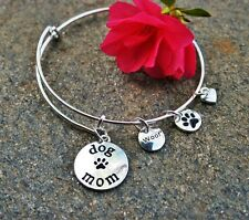Dog Mom Expandable Wire Bangle Bracelet Lover Woof Sterling Silver Pltd Charms