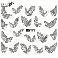 Black Jewelry Lace Nail Art Water Flowers Hot Decal Decoration Stickers B168