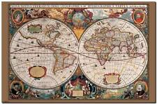 VINTAGE WORLD MAP 1600's  *FRAMED* CANVAS ART - 24x16""