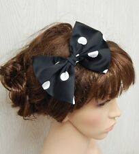 Polka dot satin hair bow on elastic, retro pin up headband, rockabilly hair band