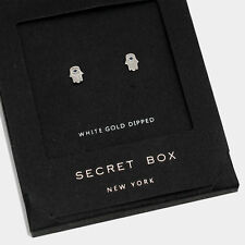 Hand Earrings Tiny Secret Gift Box WHITE GOLD DIPPED Evil Eye Post Stud Hamsa