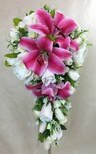 Artificial Silk Flower C/White Rose/Tulip Pink Latex Lily Bridal Wedding Bouquet