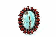Native American Navajo Indian Jewelry SS Number 8 Cluster Coral Adjustable Ring7