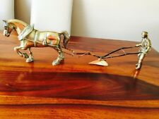 Vintage Antique Solid Brass Horse and Plough Ploughman Very Heavy