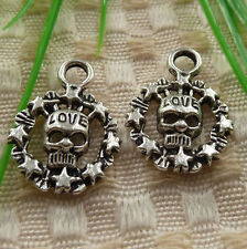 free ship 80 pieces tibetan silver skull charms 22x17mm #4209