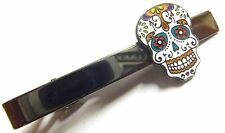 Day of the Dead All Saints Day Dia de los Muertos Sugar Skull Suit Tie Bar Clip