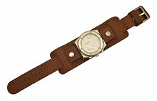 20mm Bikers Brown Wide Genuine Leather Watch Band Punk Rock Skaters Cuff  Strap