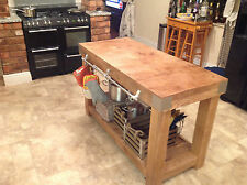 LARGE English OAK butchers block kitchen island table storage furniture vintage