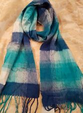 CHARTER CLUB LUXURY 100% CASHMERE BLUE PLAID MUFFLER SCARF $95 Stocking Filler