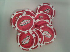 10 X SOUVENIR LAS VEGAS RED CHIPS SET