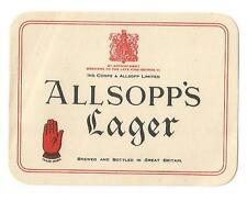 Allsopp's Lager - Beer Label - 1940s - Mint Condition
