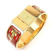 CHIC! Hermes Loquet Gold-Plated SS White Horses on Red Field Enamel Wristwatch