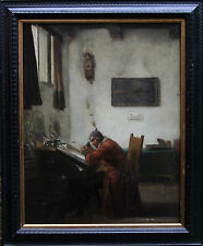 OLD MASTER DUTCH ART 18th CENTURY SIGNED GENRE OIL PAINTING PANEL METSU VERMEER