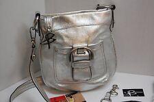 B Makowsky Leather Purse Silver Convertible Cross Body New Tags Dust Bag
