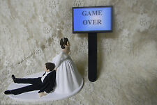 Wedding Party  ~Bride Dragging Groom-Game Over Sign~ Cake Topper Dark Hair Both