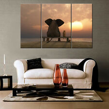 Elephant Sunset Unframed HD Canvas Print Home Decor Wall Art Picture Poster