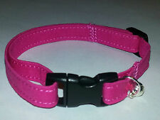 Solid Pink Breakaway Cat/Small Dog Collar w/ Silver bell Springtime / Summer