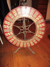 Antique Vintage Folk Art Wooden Carnival Dice Game of Chance Wheel with Flapper