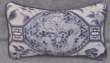 Pillow made w/ Ralph Lauren Palm Harbor Octagonal Navy Blue & White Fabric 12x7