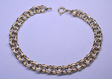 VINTAGE 14K YELLOW GOLD DOUBLE LINK CABLE CHARM BRACELET 7 1/8 INCHES 8.2 GRAMS