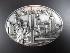 NEW York MAGNETE in metallo Statua della Libertà con Skyline, Empire, 7 cm ovale, NUOVO