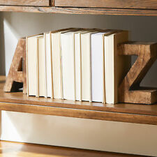 A to Z Bookends Wood Modern Chic Accent Decor Set of 2