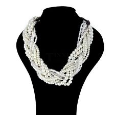 Fashion Women Jewelry Pearl Necklace Chain Statement Bib Chunky Collar TXSU