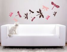 Colorful Dragonflies Wall Decal, Floral Wall Decals, sticker, mural