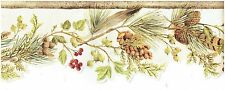 FEATHER LEAVES BERRIES AND PINECONES DIE-CUT Wallpaper bordeR Wall decor