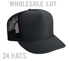 Wholesale Lot - 2 DOZEN Hats - Solid Black Mesh Foam Trucker Hat  Snapback CAPS