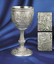 1989 FRANKLIN MINT 6 ECALIBUR MEDIEVAL PEWTER GOBLETS + COA's NIB NEW OLD STOCK