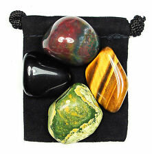DEALING With CHANGE Tumbled Crystal Healing Set = 4 Stones + Pouch + Description