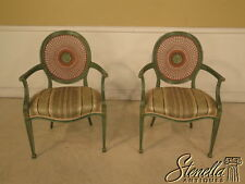 23895BE: Pair Adam Style Paint Decorated Cane Back Arm Chairs