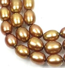 """A+ 7x5mm Champagne / Gold Freshwater Pearl Rice Barrel Beads 16"""""""