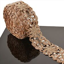 Hand Beaded Bridal Border 9 YD Trim Copper Craft Lace Mirror COLLECTIBLE EDH