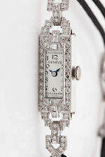 Antique ART DECO 1930s $5K 1.50ct VS G Diamond Ladies Platinum Dress Watch WRNTY