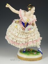 "Antique Volkstedt Dresden Lace Figurine 9"" TALL LADY GIRL BALLERINA DANCER FAN"