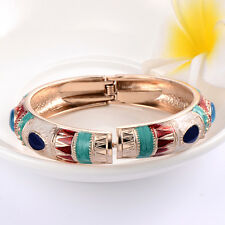 Enamel Gold Plated Cubic Zirconia Punk Womens Charm Party Bangles