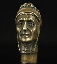 Old Handwork Carving Bronze Native American Statue Cane Head Walking Stick