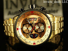 Invicta Men's 48mm Aviator Chronograph Gold Dial 18K Gold Plated SS Tacy Watch
