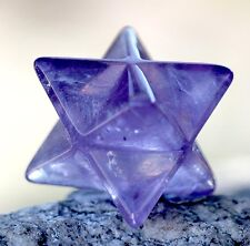 Amethyst Purple STAR Merkaba Carving Gemstone Crystal Healing Sacred Geometry ~